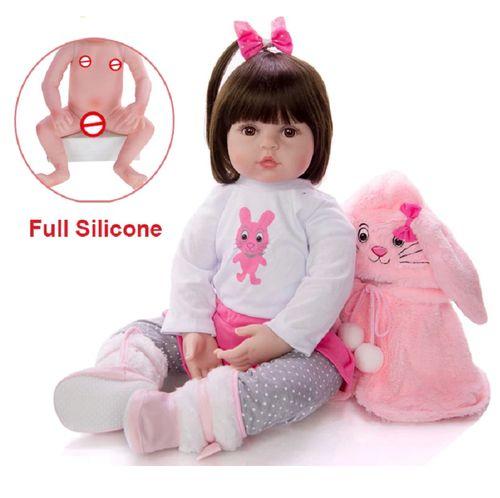 Bebe Reborn 48cm 100% Corpo de Silicone Realista Baby Fashion Coelho