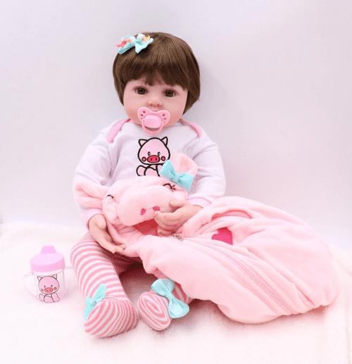 Bebe Reborn 48cm | Silicone e Tecido | Realista | Baby Fashion
