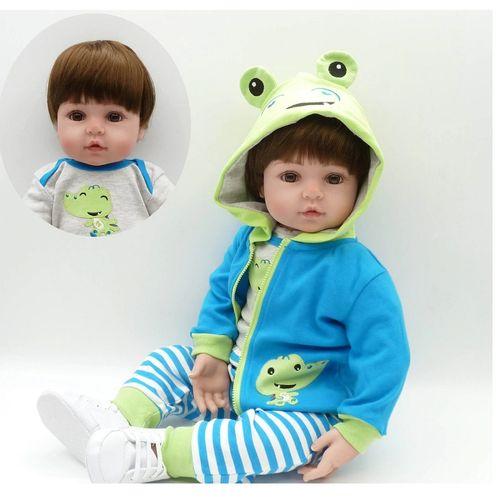 Bebe Reborn Menino 48cm Silicone e Tecido Realista Baby Fashion