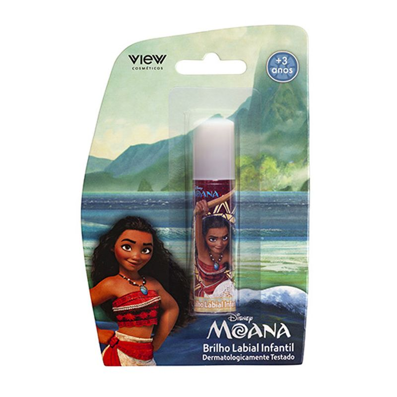Maquiagem-Infantil---Brilho-Labial---Disney-Princesas---Moana---Vermelho---View-Cosmeticos_Embalagem
