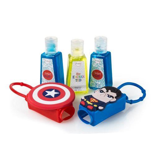 Kit 3 Alcool Gel de Mão 30ml + 2 Capas de Silicone Dondoca Beauty Super Heróis