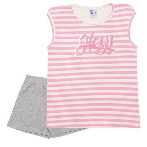 Conjunto - Pulla Bulla - Infantil - Cotton - Rosa - Menina - 6