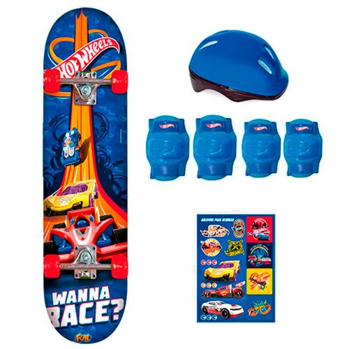 Skate Com Acessórios - Hot Wheels - Azul - Fun