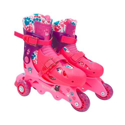 Patins Ajustáveis - 3 Rodas - Barbie - 29/32 - Fun
