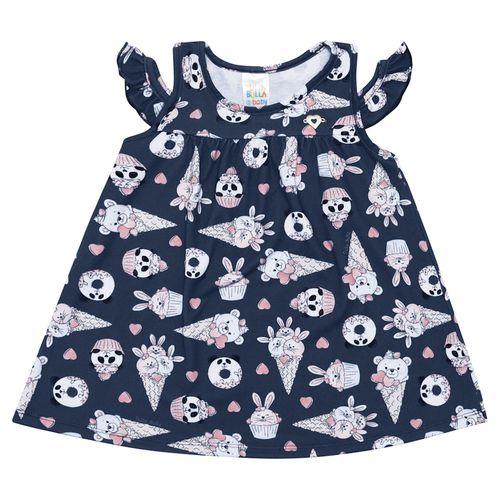 Vestido - Pulla Bulla - Bebê - Malha Leve - Marinho - Menina - G