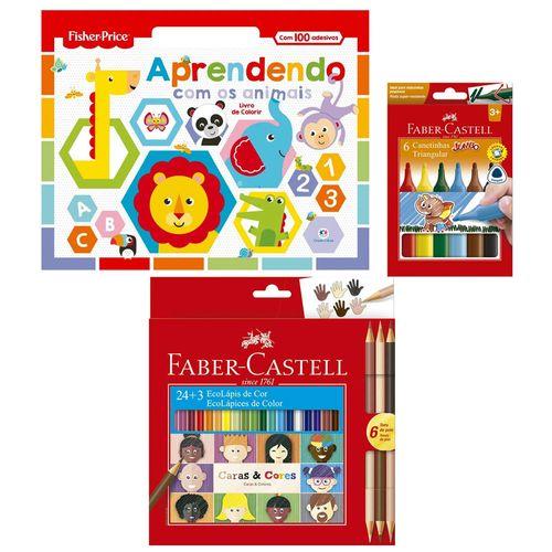 Kit de Colorir com Livro Aprendendo com os Animais - Canetinhas e Lápis de Cor - Faber-Castell