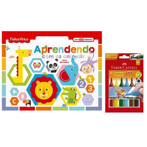 Kit de Colorir com Livro Aprendendo com os Animais e Canetinhas Coloridas - 6 Cores - Faber-Castell