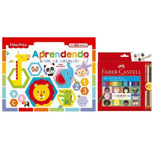 Kit de Colorir com Livro Aprendendo com os Animais e Lápis de Cor - 24 Cores + 3 - Faber-Castell