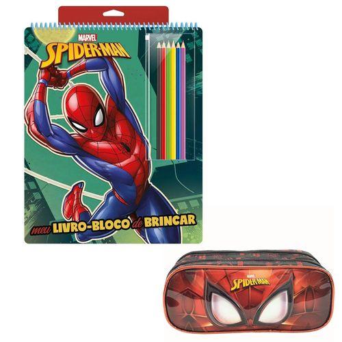 Kit de Colorir com Livro Bloco e Estojo Duplo - Disney - Marvel - Spider-Man - Xeryus