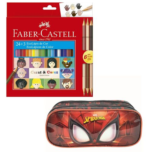 Kit de Estojo Duplo - Disney - Marvel - Spider-Man e Lápis de Cor - 24 Cores + 3 - Faber-Castell