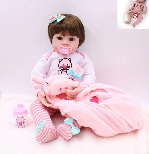 Bebe Reborn 48cm   100% Corpo de Silicone   Realista   Baby Fashion Pig