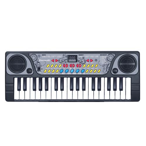 Teclado infantil Eletrônico Musical com Microfone - Preto