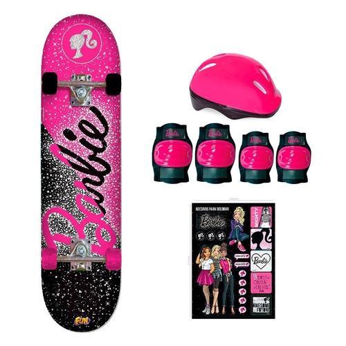 Skate Da Barbie Com Kit De Segurança Adesivo Rosa Brilhante