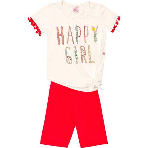 Conjunto Infantil Abrange Blusa e Short Ciclista - Em Algodão e Elastano - Bege e Vermelho