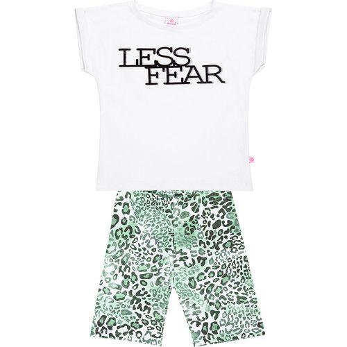 Conjunto Infantil Abrange Blusa e Short Ciclista - Em Algodão e Elastano - Branco e Verde