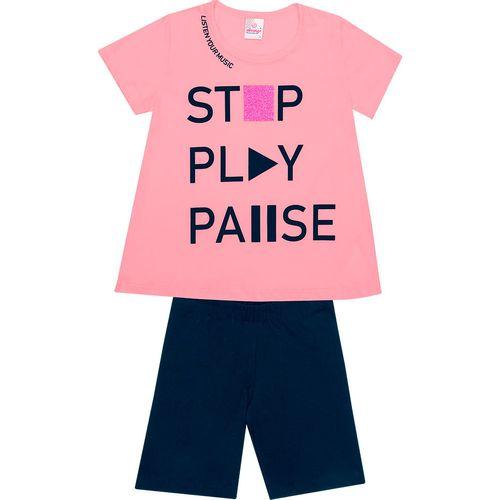 Conjunto Infantil Abrange Blusa e Short Ciclista - Em Algodão e Elastano - Rosa e Azul Marinho