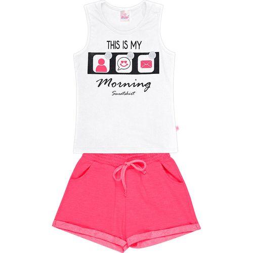 Conjunto Infantil Abrange Blusa e Short - Em Algodão e Elastano - Branco e Rosa