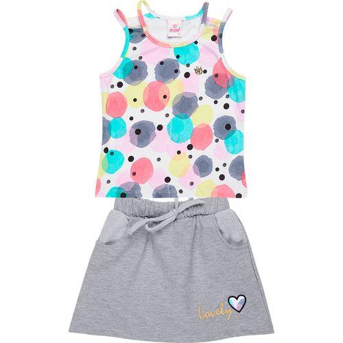 Conjunto Infantil Abrange Blusa e Short/Saia - Em Algodão, Poliéster e Elastano - Branco e Cinza