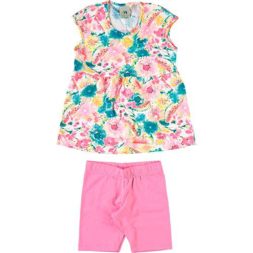 Conjunto Infantil Malwee Blusa e Short - Em Cotton e Lycra - Rosa