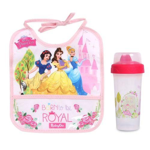 Kit de Babador Decorado e Copo Com Tampa - 340Ml - Princesas Disney - BabyGo