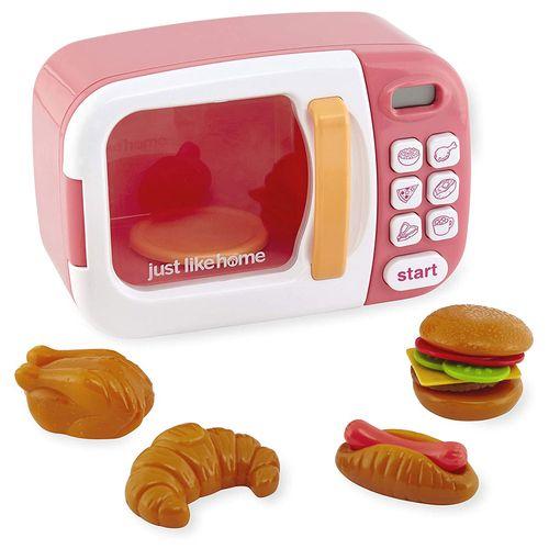 Mini Microondas - Just Like Home - Branco e Rosa - New Toys