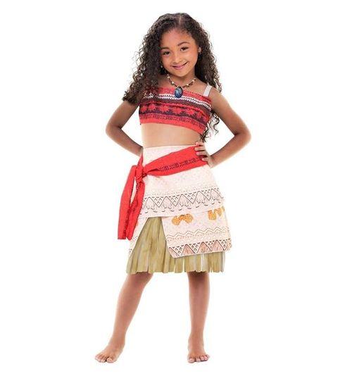 Fantasia Moana Infantil Clássica Com Colar Saia e Top