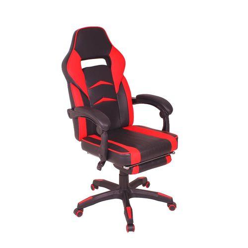 Cadeira Gamer MAG3 Reclinável com Apoio Retrátil para os Pés - Preto/Vermelho