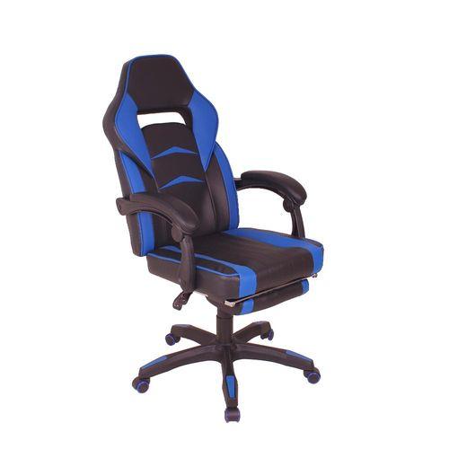Cadeira Gamer MAG3 Reclinável com Apoio Retrátil para os Pés - Preto/Azul