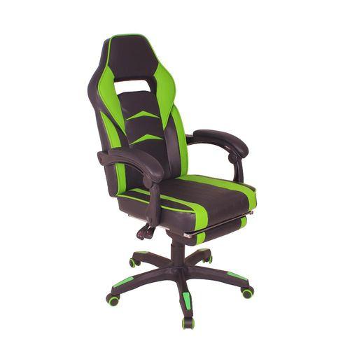 Cadeira Gamer MAG3 Reclinável com Apoio Retrátil para os Pés - Preto/Verde