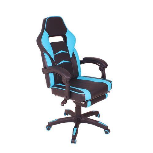 Cadeira Gamer MAG3 Reclinável com Apoio Retrátil para os Pés - Preto/Azul Claro