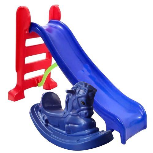 Pracinha Baby - Escorregador Infantil Médio Azul + Gangorra Cavalinho Azul