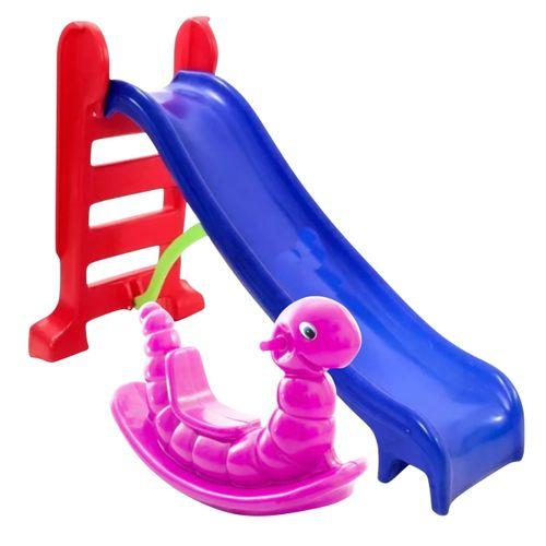 Pracinha Baby - Escorregador Infantil Médio Azul + Gangorra Nhoca Rosa