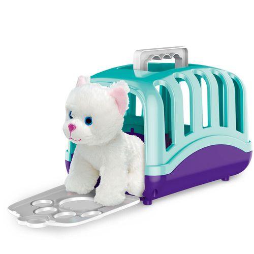 Mini Figura com Acessórios - Maleta de Transporte Pet Care - Cachorrinho - Branco e Rosa - Fun