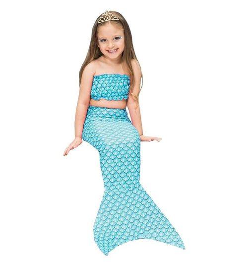 Fantasia de Sereia Infantil Com Cauda e Top Azul Tiffany de Carnaval