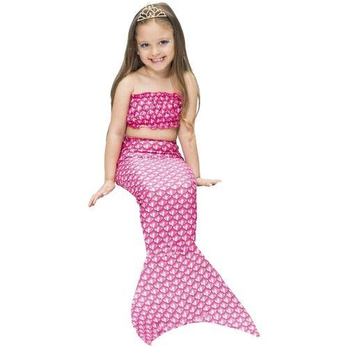 Fantasia de Sereia Infantil Rosa de Carnaval Com Cauda e Top