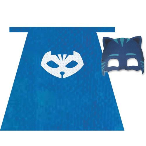 Fantasia Pj Masks Infantil Kit com Capa e Máscara Menino Gato