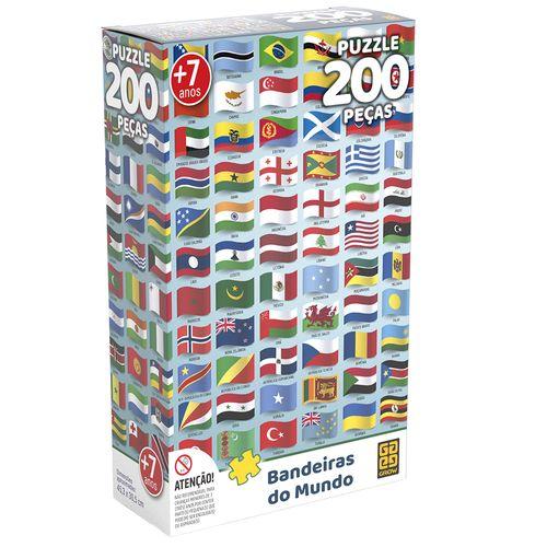 Quebra-Cabeça - 200 Peças - Bandeiras do Mundo - Grow
