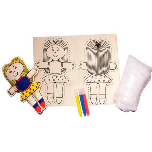 Boneca de Pano Para Pintar e Alinhavar - BO100 - Alegria Sem Bateria
