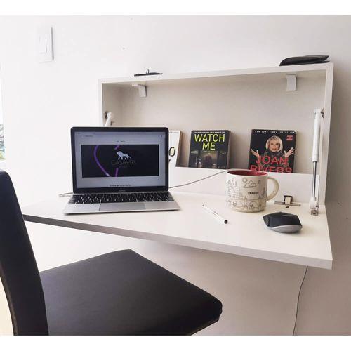 Escrivaninha Mesa Suspensa Dobrável 69 cm - Branco