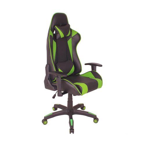 Cadeira Gamer MAG1 Reclinável com Base Giratória em Nylon - Preto/Verde
