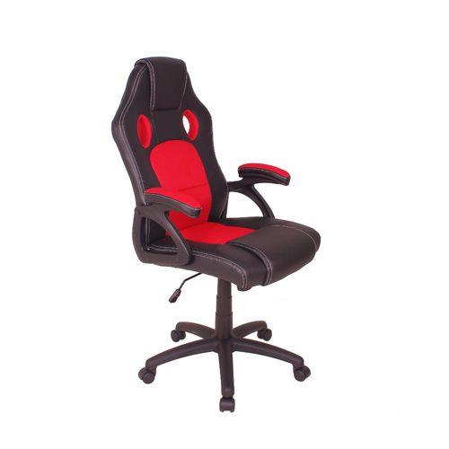 Cadeira Gamer MAG4 com Base Giratória e Relax - Preto/Vermelho
