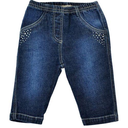 Calça Jeans Bebê Tilly Baby - Em Cottom 100% Algodão com Elastano e Strass - Azul
