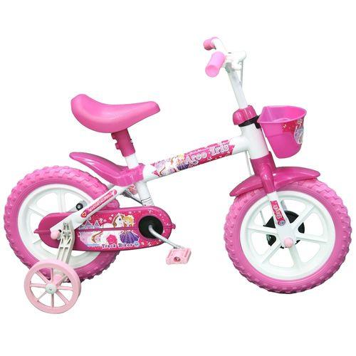 Bicicleta Aro 12 -  Arco Íris Branco e Pink - TK3 Track