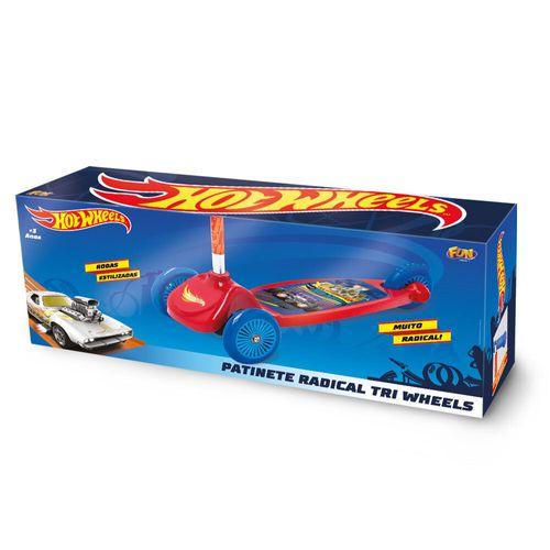 Patinete Hot Wheels - 3 Rodas - Vermelho e Azul - Fun