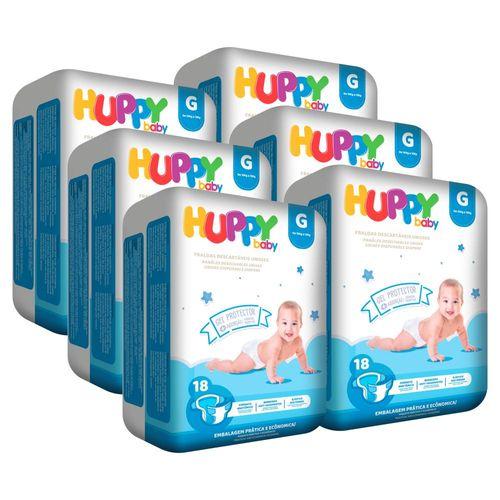 6 pacotes Fralda Huppy Baby Plus G 18 un.