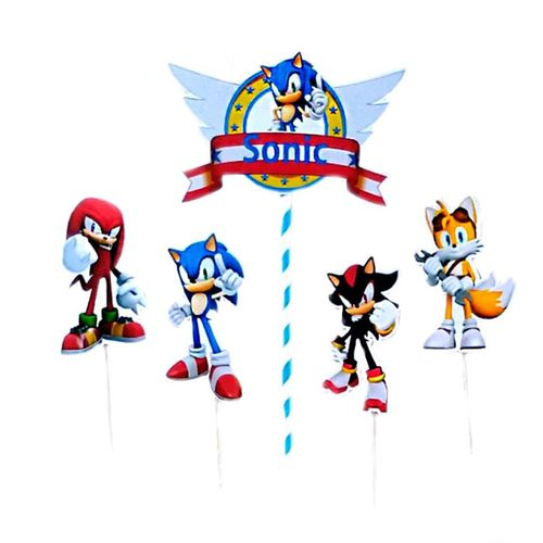 Festa Sonic - Enfeite para Topo de Bolo Sonic - 03 Un