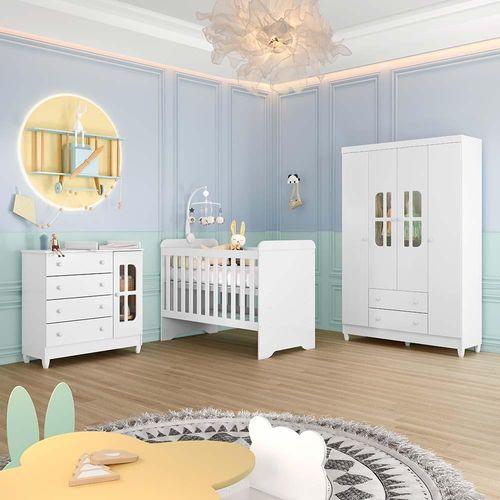 Quarto Infantil Completo Guarda Roupa 4 Portas Cômoda com Porta Gabrielle Berço 3 em 1 Gabrielle Br Brilho Carolina Baby