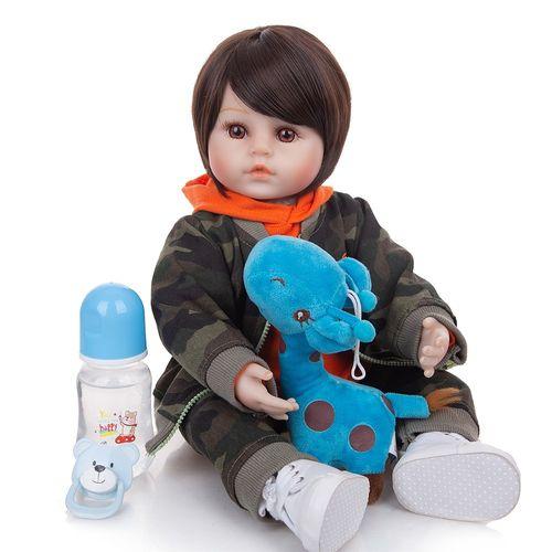 Boneca Reborn Menino 48cm Silicone e Tecido Realista Baby Fashion