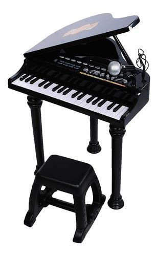 Piano Sinfonia Pianinho Infantil Modelo Luxo C Banco 52 Cm - Preto
