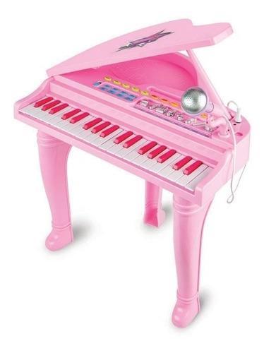 Piano Sinfonia Pianinho Infantil Modelo Luxo C Banco 52 Cm - Rosa